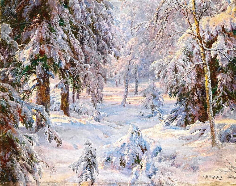Фото зимний художественный пейзаж леса одном банке