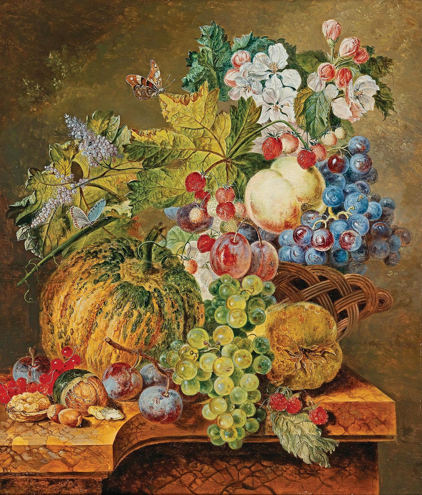 Купить натюрморт художника: Ягоды и фрукты в корзине ...